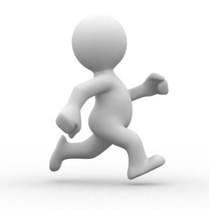 3d white human running alone in white background